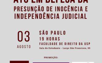 Membros do Ministério Público e juízes fazem ato em defesa da presunção de inocência